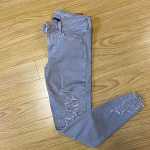 AEO distressed grey jeggings size 4
